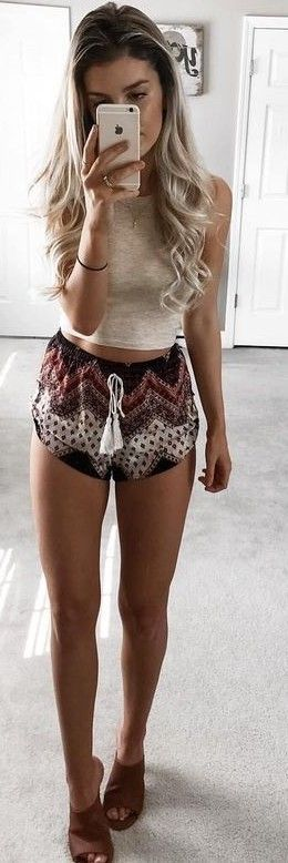 #summer #young #outfits |  Nude Knit Crop + Black Print Shorts