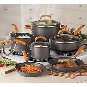 This cookware from Rachel Ray offers a set is an great value, including all of the pots and pans needed to to cook in your kitchen.