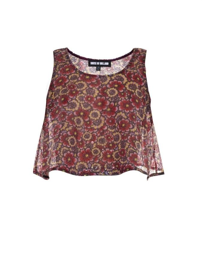 HOUSE OF HOLLAND Sequin-floral trapeze crop-top