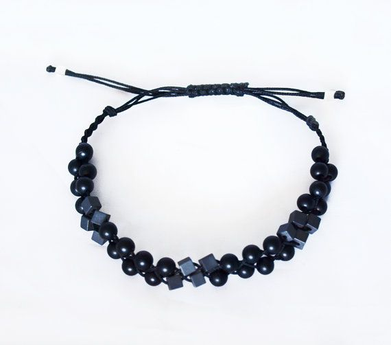 Beaded Plaited Bracelet_Black Beads & Hematite Cubes by Fragkiski