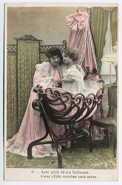 Victorian Boudoir Colour Tinted Postcard by mondas66, via Flickr