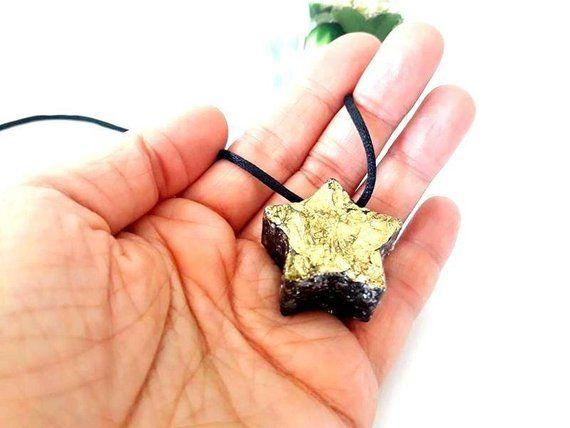 Orgone Necklace Star Gold Of Shungite Jewelry Pendant Energy Orgone Generator Star Orgone Pendant Modern Magic Pendant Spiritual Gift Emf Shungite Pendant Pendant Jewelry