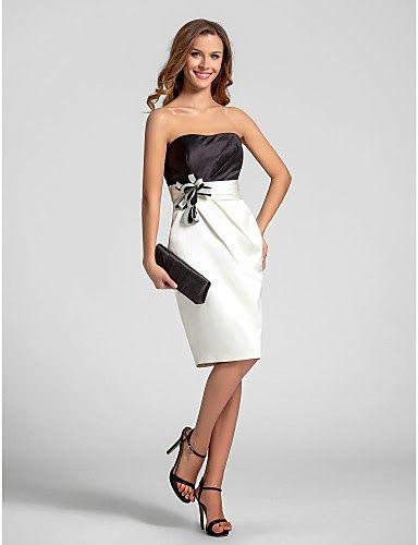 Vestido de Satén Blanco y Negro parta boda semiformal