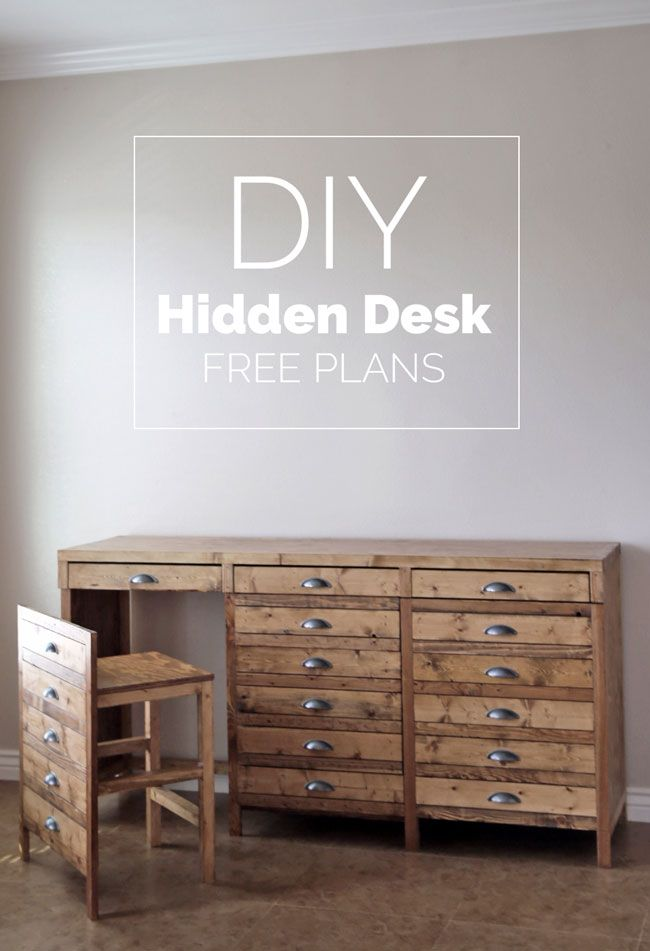 DIY Hidden Desk - it's not a printers cabinet - it's a DESK with CHAIRS! What! So clever!
