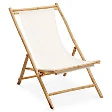 Outdoor Bamboo Deck Chair, White