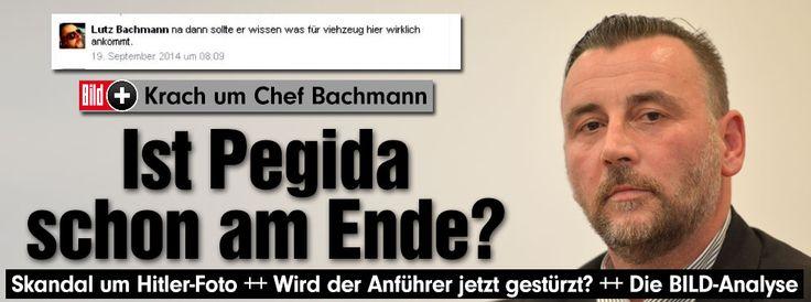 """Rücktrittsgerüchte um Pegida-Chef Bachmann. Meinungsforscher: """"Mit Hitler macht man in der deutschen Politik keine Scherze. Kein normaler Bürger hat dafür Verständnis""""  http://www.bild.de/bild-plus/politik/inland/pegida/krisentreffen-nach-hitler-foto-39432488,var=x,view=conversionToLogin.bild.html Er ist weg: http://www.bild.de/politik/inland/pegida/chef-lutz-bachmann-tritt-nach-hitler-fotos-zurueck-39442412.bild.html"""