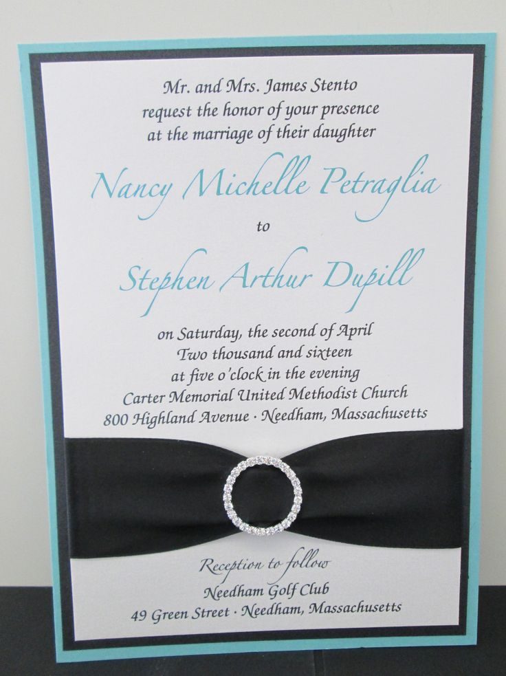 Multi layer invitations with ribbon and rhinestone bling