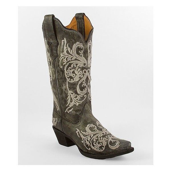 Corral Dahlia Embroidery Cowboy Boot (260 CAD) ❤ liked on Polyvore featuring shoes, boots, country, grey, grey boots, cowboy boots, gray tall boots, gray boots and grey cowboy boots