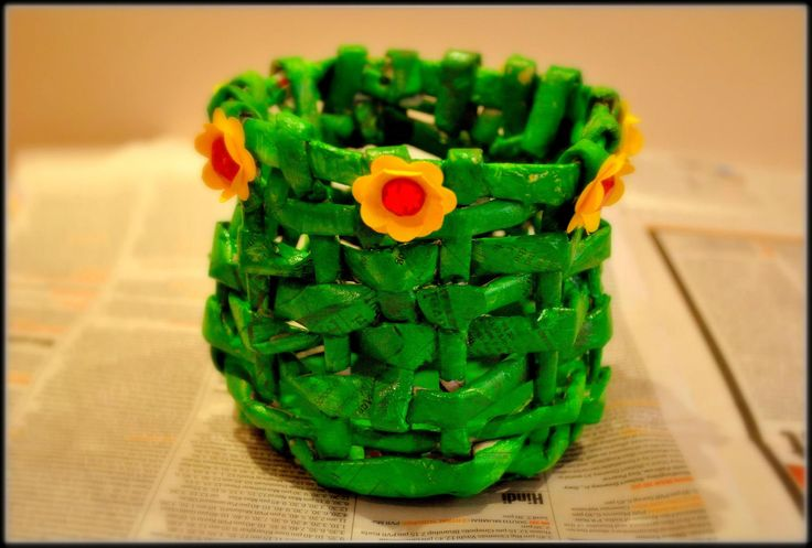 Learn how to create the Green Newspaper Basket. Easy paper weaving..
