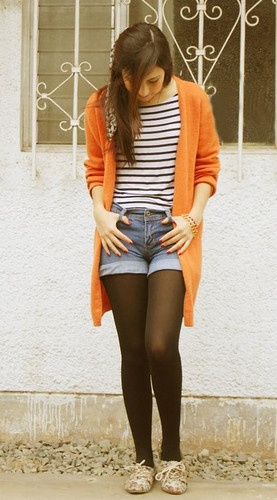 orange sweater, sailor top, full length jeans, neutral oxford