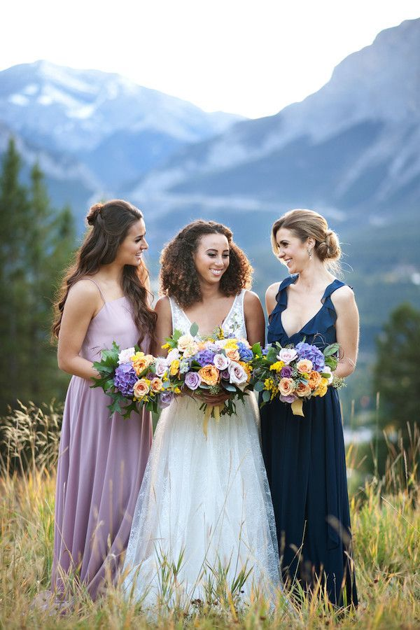 Rocky Mountain Wedding Inspo in Shades of Blue, Lavender, Mustard and Peach