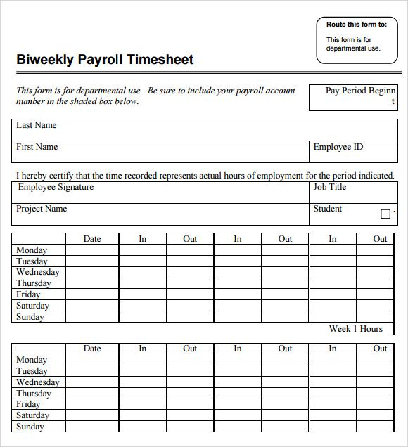 ... Payroll Timesheet Template Free Download For Pdf Excel Sample   Sample  Biweekly Timesheet ...