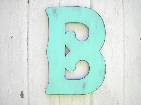 Shabby chic Wooden Letter B 12 inches T Patina Wedding decor handmade decorative sign wall art: Wall Hanging