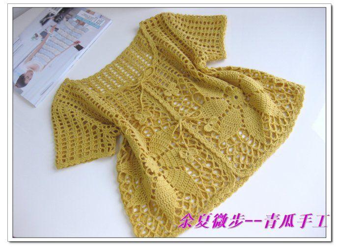Crochet women's wear free pattern for cute little jacket