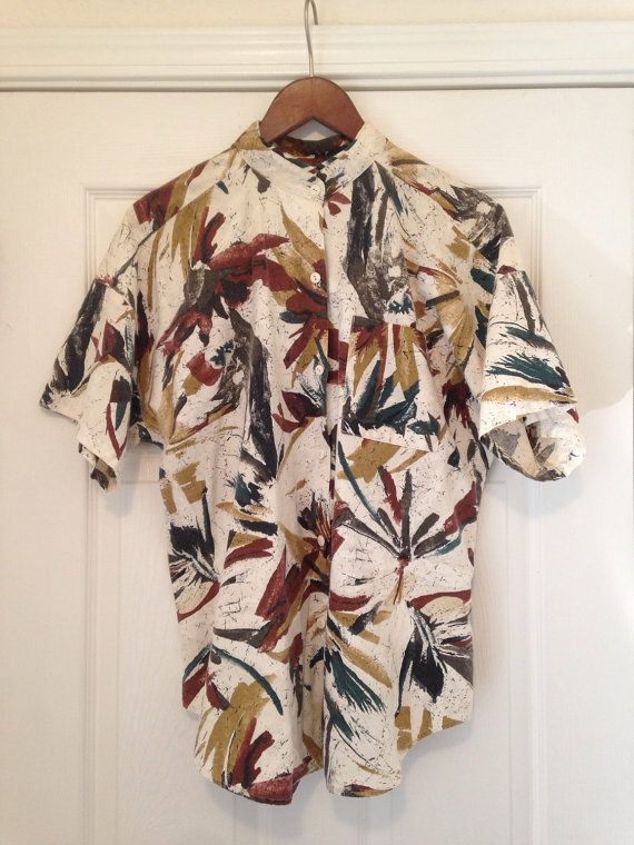 Vintage abstract tropical mens shirt L XL by twinflamesboutique