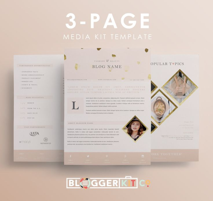 Press Kit Template Instant Download Blog Media Kit Template Press