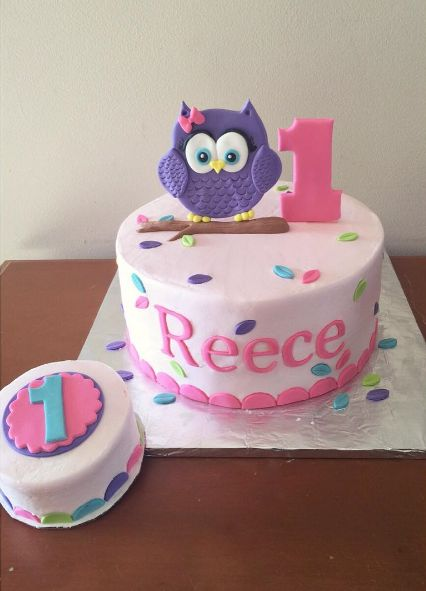 Owl 1st birthday cake
