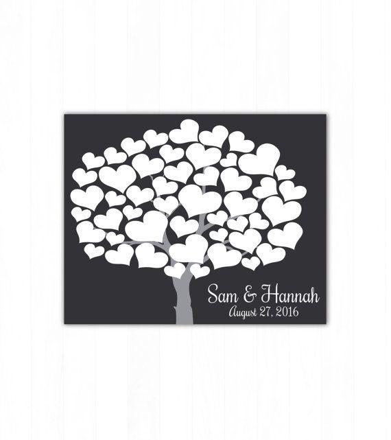 Wedding Guest Book Alternative Art Print, Heart Tree Wedding Guest Book Poster, Signature Wedding Guestbook, 50 Guests Bridal Shower Present by Caldson Designs