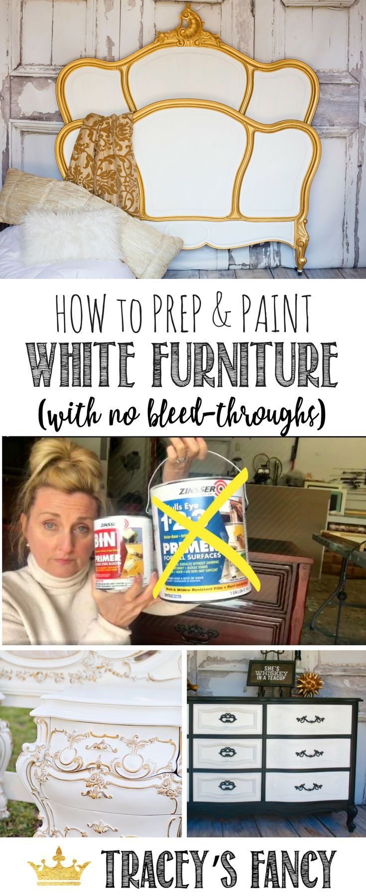 How to Prep & Paint White Furniture with no wood tannins pulling through and no bleed-throughs by Tracey's Fancy | Furniture Painting Tips | How to Paint Furniture | White Painted Furniture Ideas | Shellac + Primer