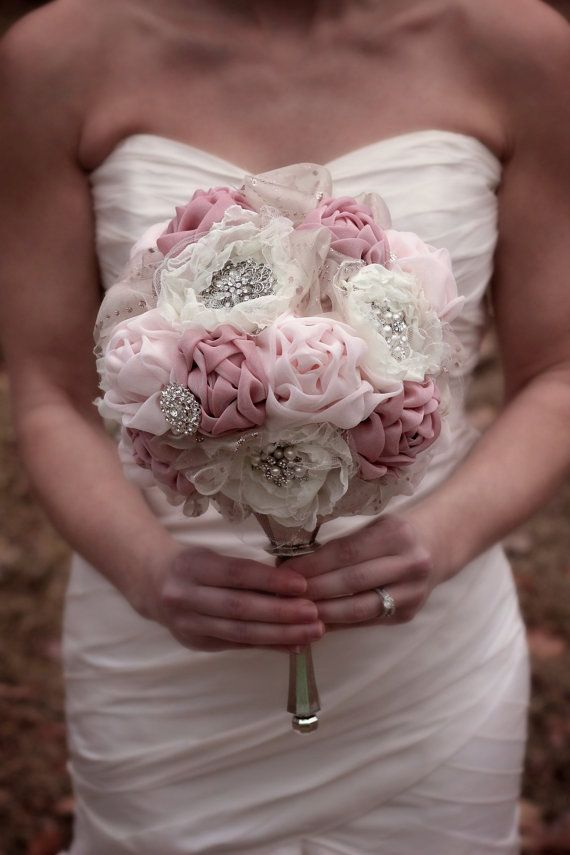 Blush Wedding Bouquet  Brooch Bouquet  by SimplyTimelessEvents