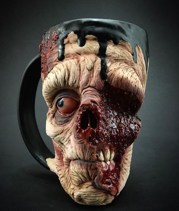 These Hand-Treated Zombie Coffee Mugs Are To Die For...