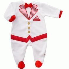 Pyjama garçon effet smoking en velours blanc et rouge