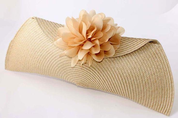 Bolso Ester, bolso fiesta, bolso boda, bolso novia, bolso paja, bolso barato, bolso mano, bolso beige, bolso flores, boda original, artesanía, clunch