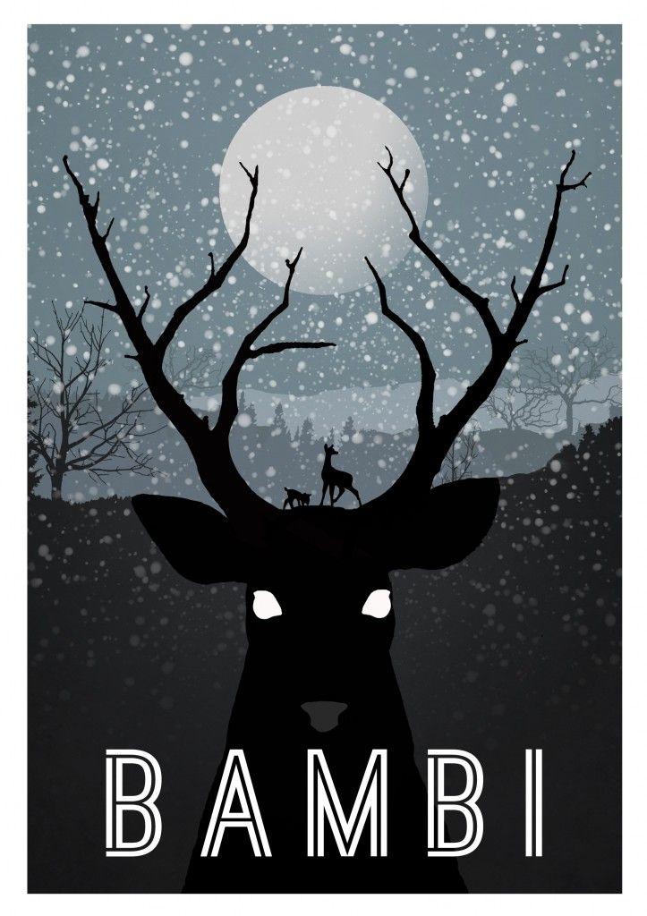 alternative Disney movie poster - Bambi  via http://www.tqsmagazine.co.uk/10-beautiful-alternative-disney-movie-posters/