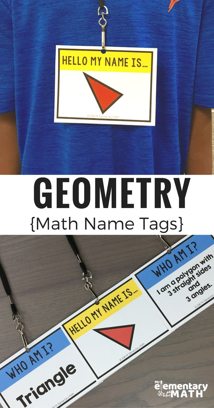 Use Geometry Math Name Tags to teach and review 2D and 3D shape attributes, comparing shapes, sorting shapes and MORE!
