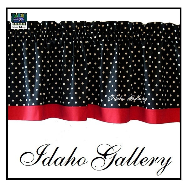 Polka Dot Black White Red Kitchen Curtain Or Bedroom Valance Via Etsy