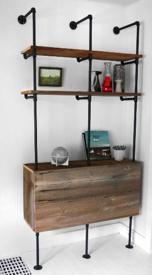 reclaimed wood pipe shelving unit mid century by hindsvik crafty ideas pinterest. Black Bedroom Furniture Sets. Home Design Ideas