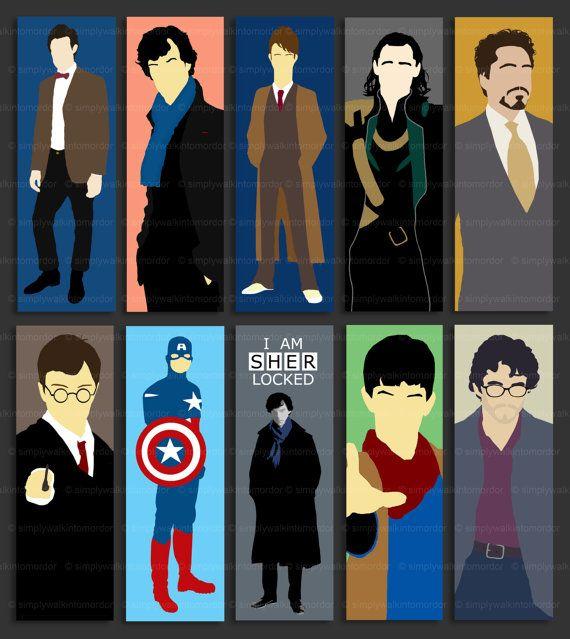 Doctor Who - BBC Sherlock - Loki - Tony Stark - Harry Potter - Captain America - BBC Merlin - Will Graham bookmark