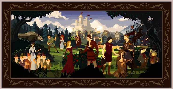 @Tinystuffz on Twitter recreated the painting from the Book of Fables in The Wolf Among Us in pixels