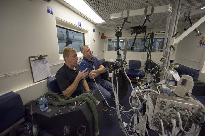 ESA astronaut Tim Peake using the Airway Monitoring setup at NASA's Johnson Space Centre that he will later use in space.  To test nitric oxide monitoring in space and assess its value as a diagnostic tool, ESA astronaut Tim Peake and other astronauts will wear a portable gasmask that analyses the molecule as he breathes. The experiment will be performed at normal Space Station pressure but also at a half-pressure in the Quest airlock to simulate the atmosphere on a lunar base.