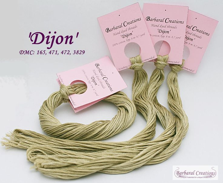 Hand dyed cotton thread for cross stitch, point de croix - 'Dijon' by BarbaralCreations on Etsy