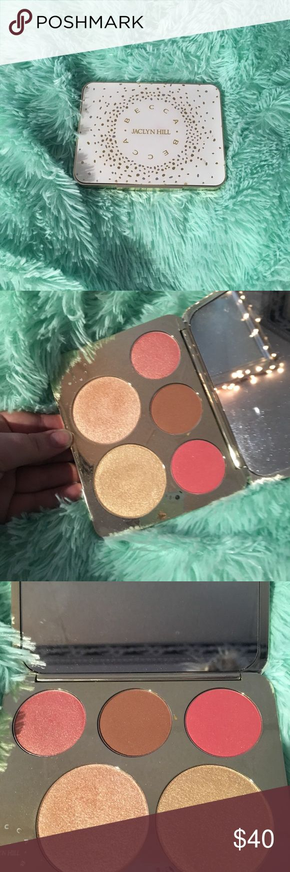 Limited edition Jaclyn hill highlight palette Limited edition Jaclyn hill Becca highlight and blush palette. Used one time. I have another so don't need two. Heat has caused cracks. But still closes and perfectly fine. BECCA Makeup Luminizer