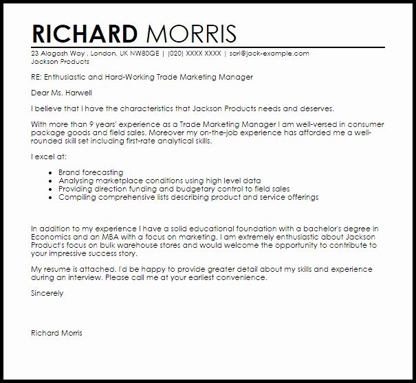 Marketing Cover Letter Template Beautiful Trade Marketing Manager Cover Letter Sample Marketing Cover Letter Cover Letter Sample Cover Letter For Resume