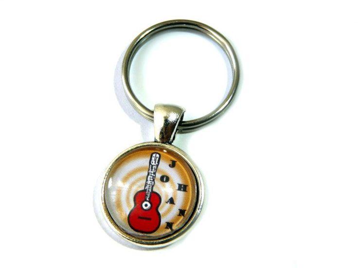 Schlüsselanhänger - Namens-Anhänger mit roter Gitarre - ein Designerstück von…