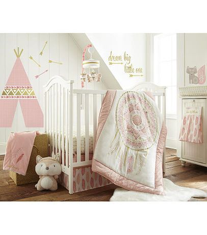 Levtex Baby Little Feather 5 Piece Crib Bedding Set - Coral