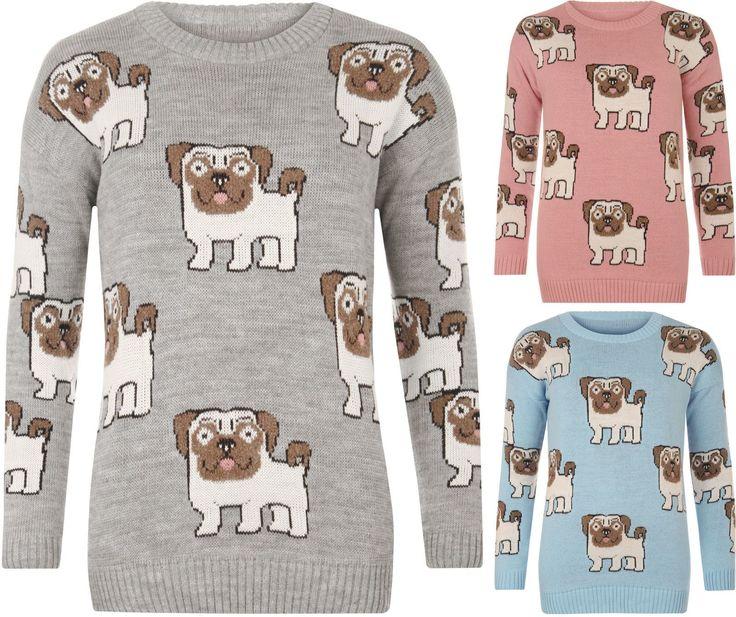 Womens Multi Pug Dog Print Long Sleeve Crew Neck Knitted Top Ladies Jumper