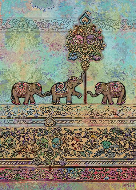 Indian Elephants by Jane Crowther (Bug Art greeting cards) - this card is embossed with gold foil.