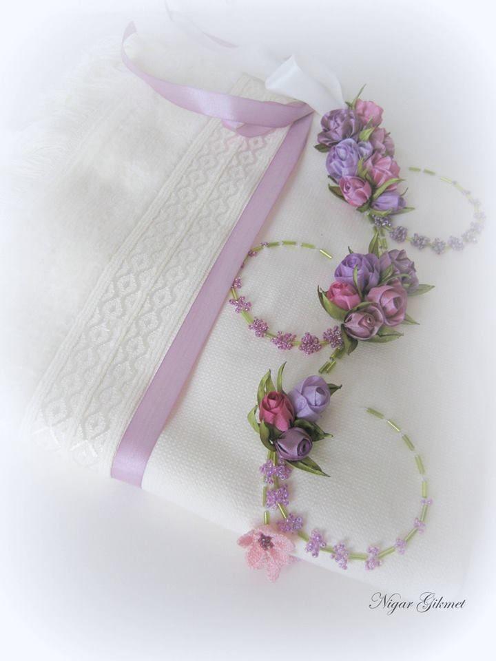 Ribbon flowers, embroidery, Nigar Hikmet, towel