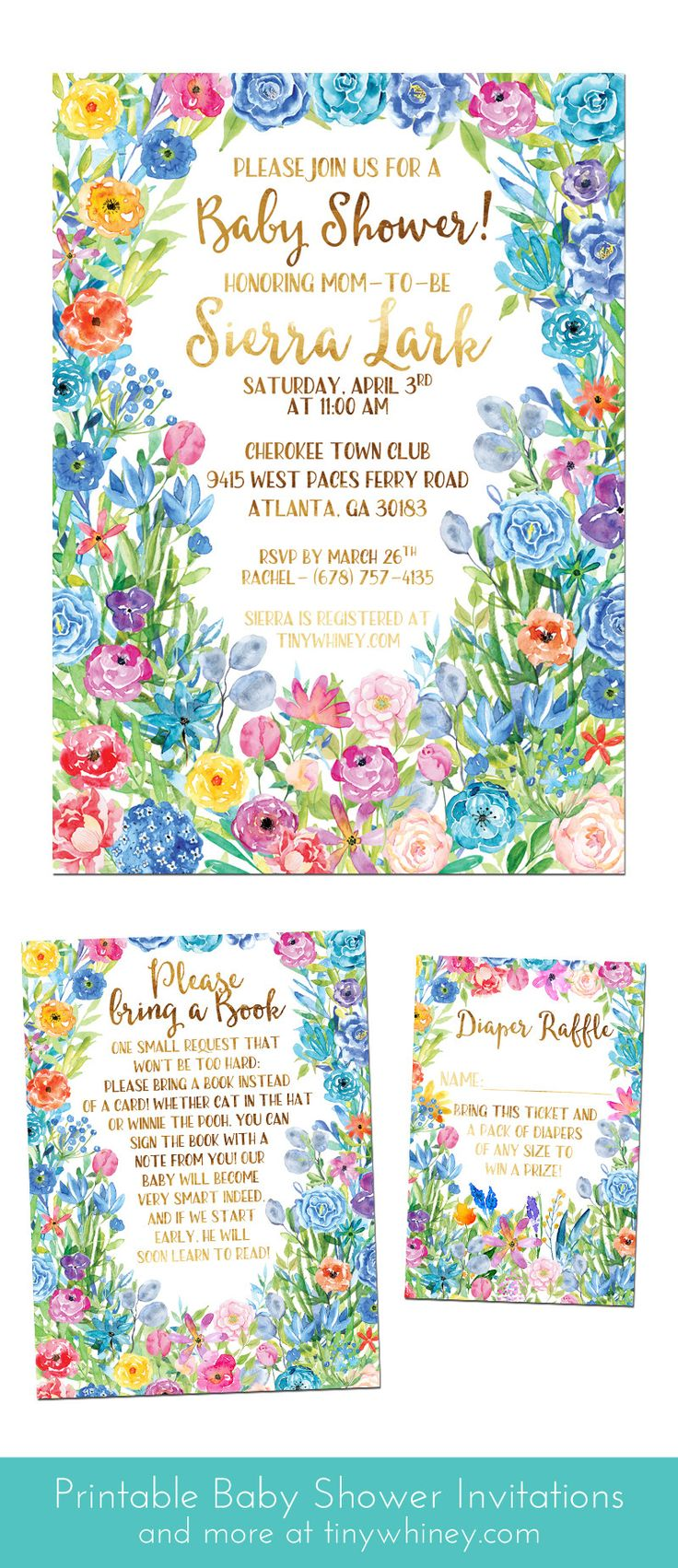 Playful and colorful, this garden baby shower invitation suite features heaps of bright pink, blue, purple, and yellow flowers. Perfect for a spring or summer baby shower!