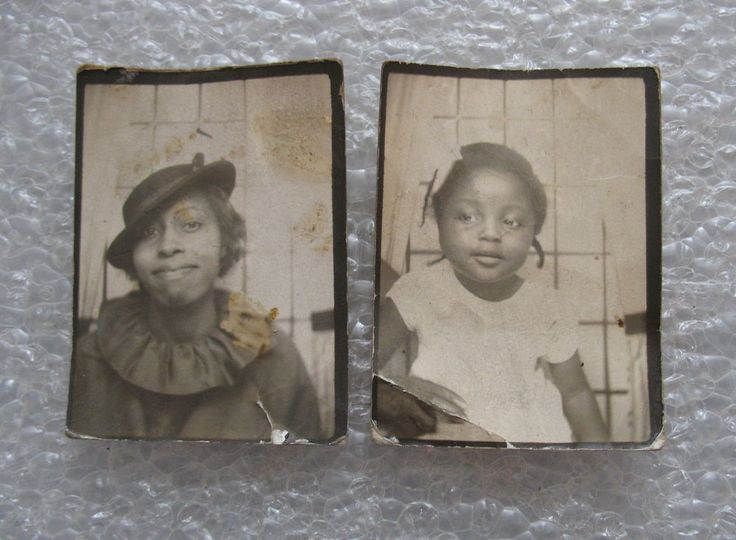 Antique African American Mother & Daughter Photo Booth Old Black Americana | eBay