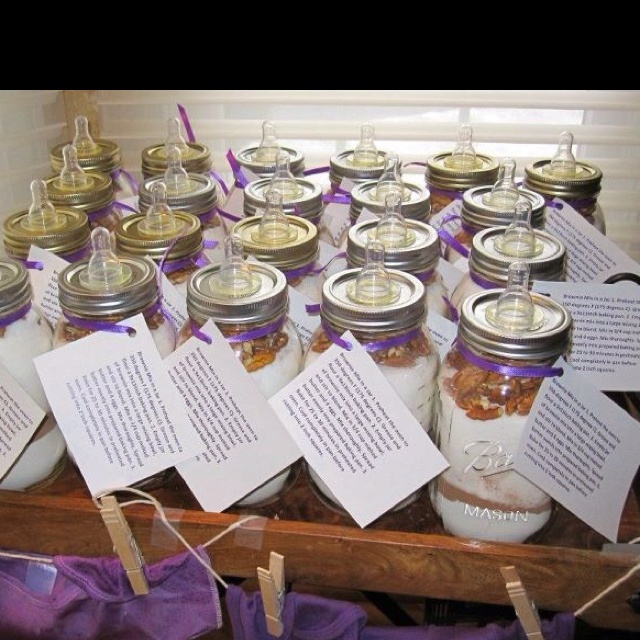 Baby Shower Party Favors.... Brownie Mix in Mason Jars