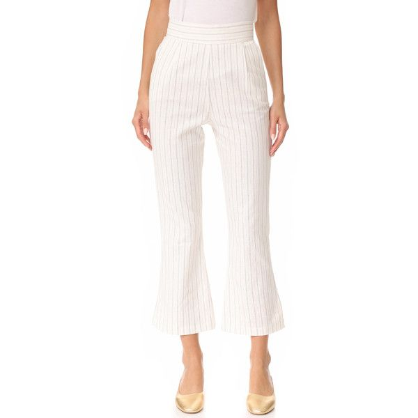 Stone Cold Fox Isla Trousers (12.810 RUB) ❤ liked on Polyvore featuring pants, pinstripe linen, white pants, white pinstripe pants, pinstripe pants, stone_cold_fox and white trousers