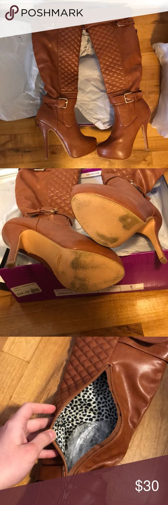 Tan heeled pumps Tan high heel pumps | size: 7 | worn once | comes with box | heel replacement included | Nature Breeze Shoes Heeled Boots