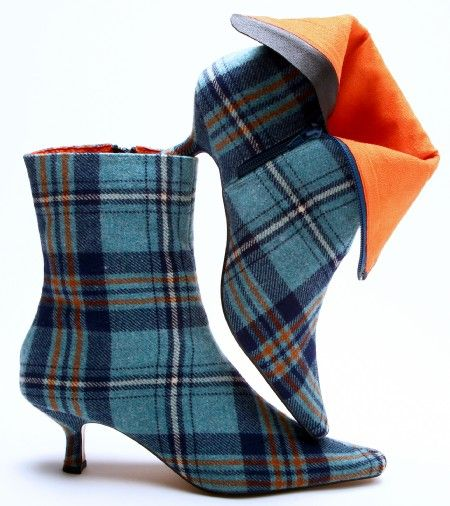 Tartan Plaid Kitten Heeled Booties with Orange Interior