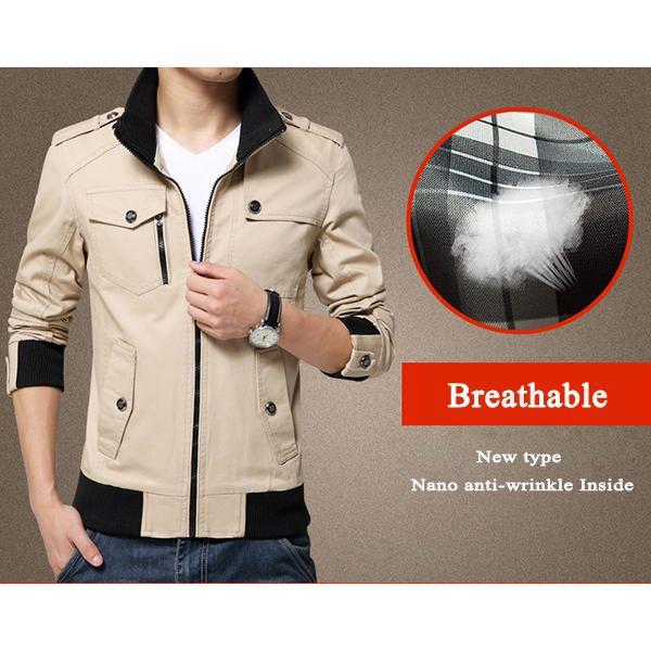 Mens Spring Autumn Stand Collar Multi Pocket Outdoor Jacket Casual Loose Coat at Banggood