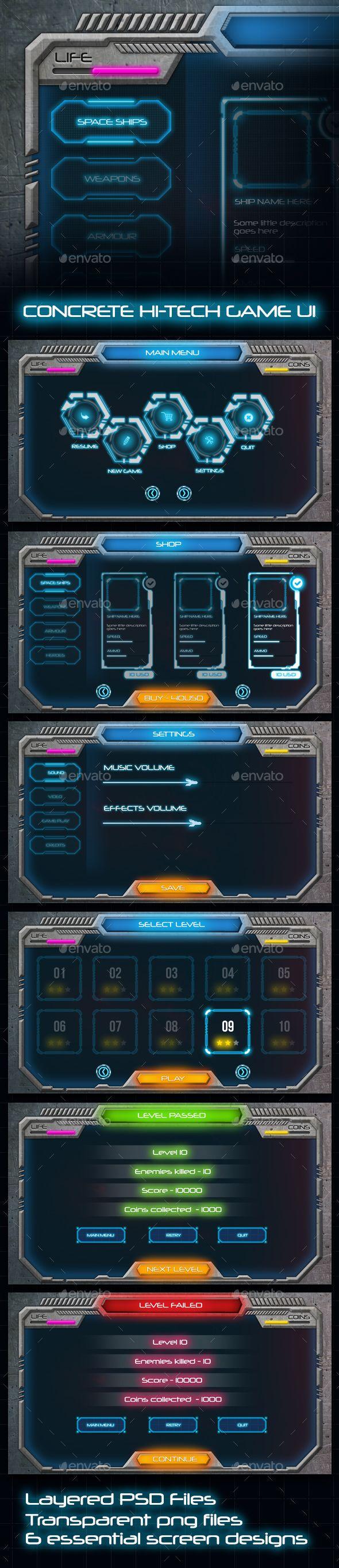 Concrete Hi-Tech Game UI - User Interfaces Game Assets